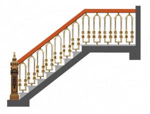 Cầu thang nhôm đúc mẫu 019