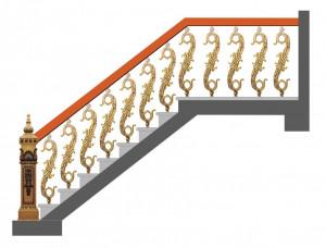 Cầu thang nhôm đúc mẫu 018