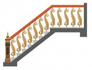 Cầu thang nhôm đúc mẫu 020