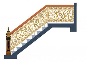 Cầu thang nhôm đúc mẫu 021